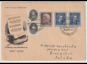 DDR-FDC: Beethoven (1952); portorichtiger Auslandsbrief