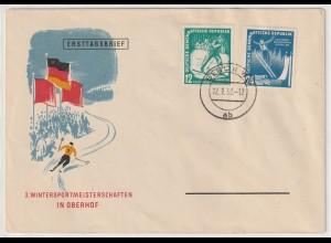 DDR-FDC: Wintersportmeisterschaft Oberhof (1952)