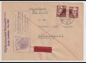 """DDR: Losungsstempel """"Vorwärts... III. Weltfestspiele"""", Eilbrief"""