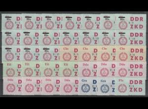 DDR Laufkontrollzetter 4. Serie komplett (84 Werte), ** (MNH)