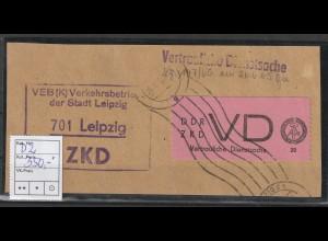 DDR-ZKD Vertrauliche Dienstsache D2 auf grßem Briefstück, geprüft Mayer
