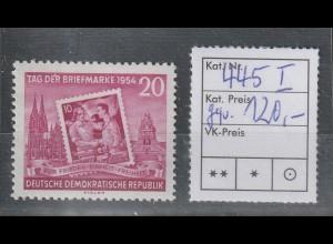 DDR Tag der Briefmarke 1954 mit PF I, **, geprüft Mayer