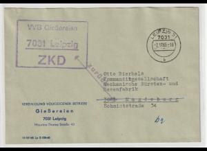 """DDR ZKD-Brief :""""Zurück - kein Teilnehmer..."""" (Kommanditgesellschaft)"""
