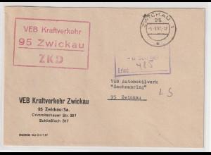DDR ZKD-Brief; unzulässige Farbe (rot) des Kastenstempels