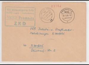 DDR-ZKD: Kastenstempel vorschriftswidrig in blaugrün