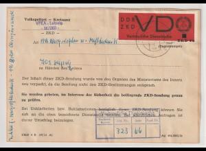 ZKD: Aufkleber des MdI nach Beanstandung des Originalumschlags, frankiert VD 4a