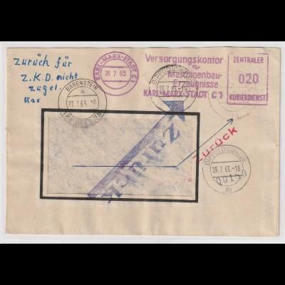 """ZKD-Brief: """"Zurück"""" - für Z.K.D. nicht zugel."""