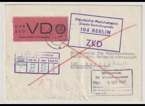 """ZKD-Brief: """"Vertrauliche Dienstsache"""", frankiert mit D1"""