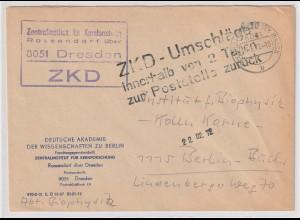 ZKD-Brief: ZI für Kernforschung Rossendorf, Hinweisstempel zur Aufbewahrung