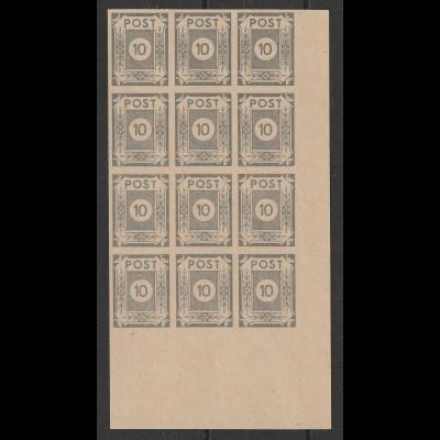 Ostsachsen Nr. 52 wax im 12er-Block, **, BPP-geprüft