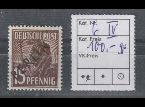 Berlin Schwarzaufdruck 15 Pfg. mit PF IV, **, geprüft Schlegel