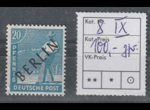Berlin Schwarzaufdruck 20 Pfg. mit PF IX, **, geprüft Schlegel