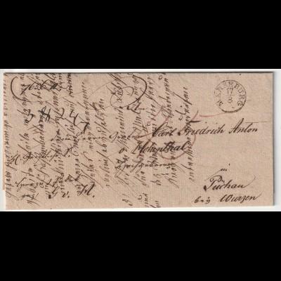 Briefhülle von Merseburg an den Grafen v. Hohenthal in Püchau