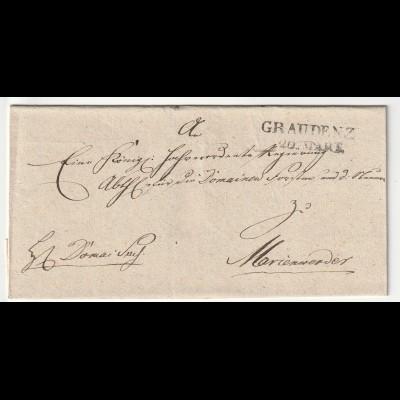 Vorphilatelie Briefhülle - von Graudenz nach Marienwerder, einwandfrei