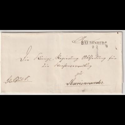 Vorphilatelie Briefhülle - von Baldenburg nach Marienwerder, einwandfrei