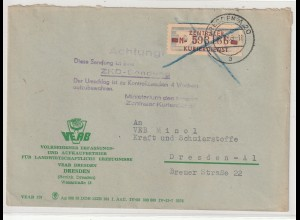 DDR ZKD-Brief: Frankiert 20 MI, vorschriftsmäßig durchkreuzt, Hinweisstempel