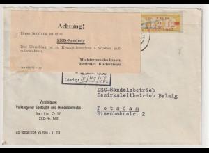 DDR ZKD-Brief: Frankiert 18 L, vorschriftsmäßig durchkreuzt, Hinweiszettel.