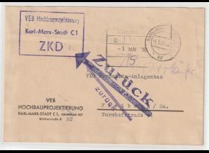 DDR ZKD-Brief: Zurückweisung durch ZKD-Kontrolle