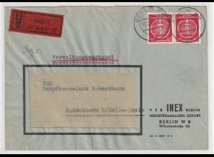 Verwaltungswertpost Feb. 56, frankiert mit Dienstmarken, BPP-geprüft