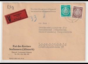 Verwaltungswertpost März 55, frankiert mir Dienstmarken, geprüft