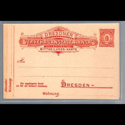 Privatpost Ganzsache-Karte mit Antwort Hansa Dresden, 2 Pf. Ungebraucht