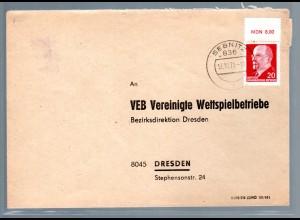 DDR. Fernbrief EF. mit Mi.-Nr. 848 OR MDN