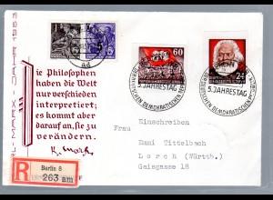DDR Eingeschriebener Fernbrief MiF. mit Marken von Block 8 B ua.