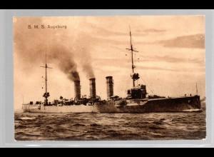 Marine-Schiffspost Nr. 209, als Feldpostkarte SMS Augsburg