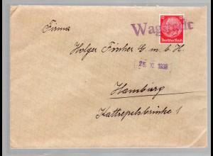 Sudetenland, Brief mit Notstempel Wagstadt 1938
