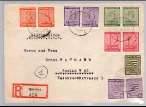 SBZ-Westsachsen, Eingeschriebener Satz-Fernbrief Mi.-Nr. 116-119 X