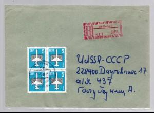 DDR,SbPA 58 Gotha + Mi.-Nr. 2831 als Eingeschriebener-Auslandbrief mit Ak-St.