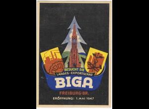 """Ereigniskarte: """"BIGA"""" Exportschau Freiburg 1947"""