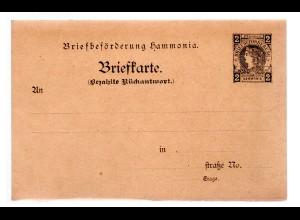 Privatpost Ganzsache-Karte mit Antwort Harmonia , 2 Pfg. ungebraucht