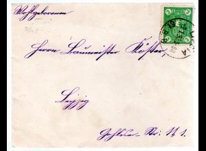 Privatpost-Brief Leipzig, mit EF. 3 pfg Marke