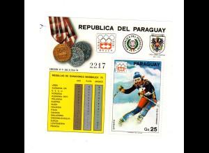 Paraguay (Innsbruck 1976) Block 277, postfrisch