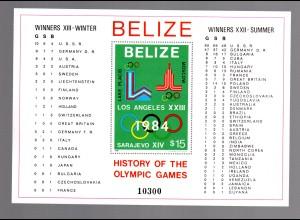 Belize 1981 (Geschichte Olympiade) Block 37 A, postfrisch