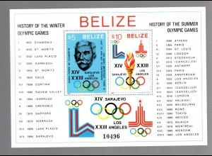 Belize (Geschichte Olympiade) Block 36 A, postfrisch