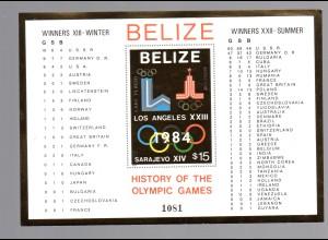 Belize 1981 (Geschichte Olympiade) Block 37 G (Goldmarke), postfrisch