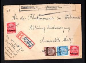 R-Brief an OK der Wehrmacht; Not-R-Zettel und Not-Stempel Neunkirchen