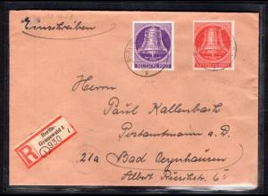 Berlin, Eingeschriebener Fern-Brief mit Mi.F Mi.-Nr 103 und 105