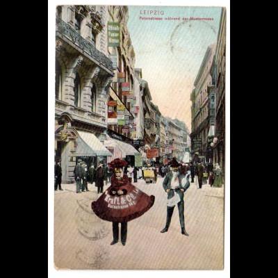 DR, Leipziger Messe Ansichtskarte 1905, gelaufen nach New York, Nachporto