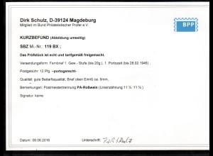 SBZ-Westsachsen Mi.-Nr. 119 BX PA-Roßwein, EF. auf Fernbrief, Befund Schulz.