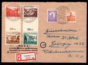 SBZ-Thüringen eingeschriebener Fernbrief mit MiF Mi.-Nr. SZd1+ SZd2