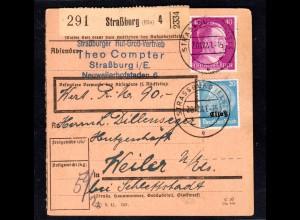 Elsaß, Wertpaket-Kartre mit Mi.F. DR + Mi.-Nr. 9