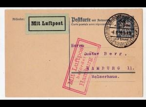 Flugpostkarte (P 159 F) von Dortmund - Hamburg, SSt. Phil.-tag.