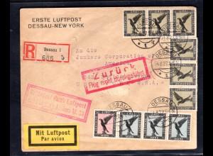 DR, Eingeschriebener-Flugpostbrief Von Dessau nach New York, Mi. 900 €.