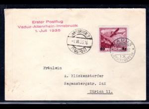 Liechtenstein, Lp-Brief Vaduz-Altenrhein-Innsbruck