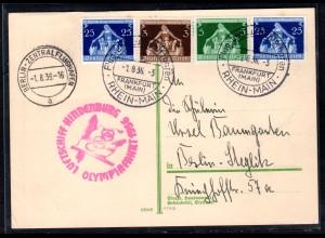 Zepp-Karte Olympiafahrt mit MiF Mi.-Nr. ex. 617-620