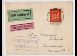 Express-Flugpostbrief 1925 von München - Braunschweig mit EF 347