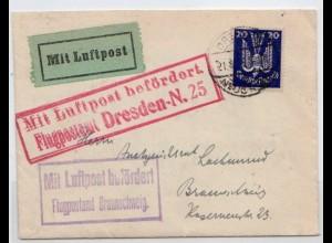 Flugpostbrief 1925 von Dresden - Braunschweig.